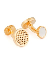 Ermenegildo Zegna Round Woven Cuff Links W Mother Of Pearl Gold
