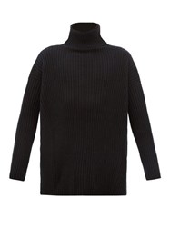 Ann Demeulemeester Grise Roll Neck Ribbed Wool Sweater Black
