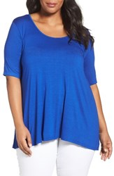 Three Dots Plus Size Women's Elbow Sleeve Tee Seaside