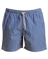 Barbour Men's Tailored Fit Gingham Swim Trunks Blue