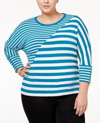 Calvin Klein Plus Size Striped Dolman Sleeve Top Adriatic Blue Soft White