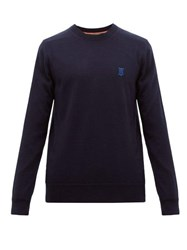 Burberry Declan Logo Embroidered Wool Sweater Navy
