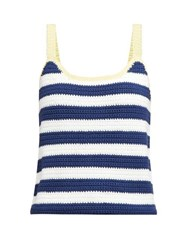 Staud Capo Striped Knitted Camisole Navy Multi