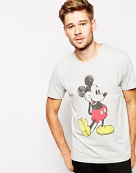 Selected T Shirt With Mickey Mouse Print Greymelange