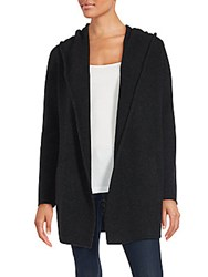 Vince Open Front Hooded Cardigan Grey Black