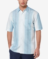 Cubavera Men's Linen Stripe Short Sleeve Shirt Surf Spray