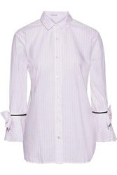 Stateside Woman Bow Embellished Pinstriped Cotton Shirt Baby Pink