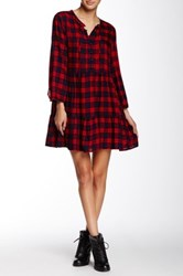 Angie Plaid Babydoll Dress Red