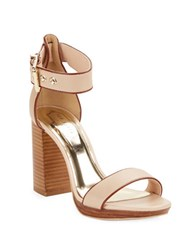 Ted Baker Lorno Stacked Block Heel Leather Sandals Taupe
