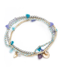 Lonna And Lilly Three Piece Cubic Zirconia And Faux Pearl Stretch Bracelet Set Blue