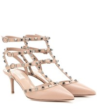 Valentino Rockstud Rolling Leather Kitten Heel Pumps Beige