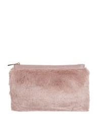 Miss Selfridge Faux Fur And Leatherette Clutch