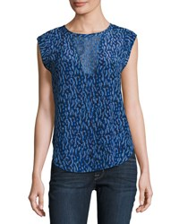 Rebecca Taylor Batik Mirage Sleeveless Silk Top Blue