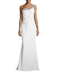 Rene Ruiz Beaded One Shoulder Draped Gown White