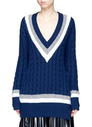 Public School 'Cora' Stripe Chunky Cable Knit Sweater Blue