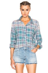Nsf Polina Top In Green Checkered And Plaid Green Checkered And Plaid