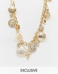 Reclaimed Vintage Inspired Multi Coin And Shell Charm Necklace Gold