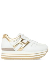 Hogan 70Mm Maxi 222 Leather Sneakers White Gold