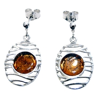 Goldmajor Amber And Sterling Silver Lattice Drop Earrings Silver Amber