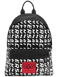Versace Logo Backpack Black