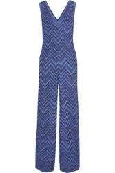 M Missoni Metallic Crochet Knit Jumpsuit Blue