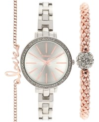 Styleandco. Style And Co. Women's Silver Tone Bracelet Watch Set 32Mm Sy001rgs Only At Macy's
