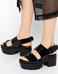Monki Aika Black Grunge Sole Heeled Sandals