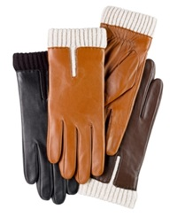 Charter Club Leather Gloves With Knit Cuff Gloves Black
