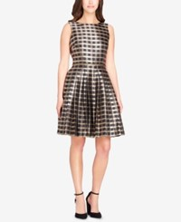 Tahari By Arthur S. Levine Asl Jacquard Plaid Fit And Flare Dress Gold Multi