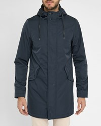 Ikks Navy Waterproof Hooded Long Parka