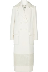 Fendi Leather And Calf Hair Trimmed Wool And Silk Blend Coat