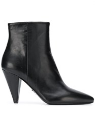 Prada Pointed Toe Ankle Boots Black