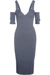 Victoria Beckham Cold Shoulder Ribbed Stretch Knit Dress Storm Blue