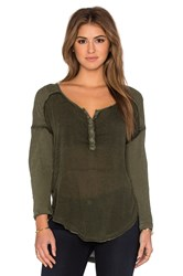 Free People Sunday Henley Top Green
