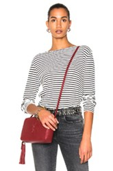 R 13 R13 Long Sleeve Boat Neck Top In Stripes White Stripes White