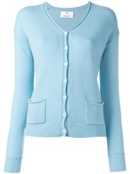 Allude Button Up Cardigan Blue