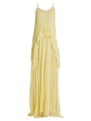 Elizabeth And James Catriona V Neck Sleeveless Silk Crepon Gown Light Yellow