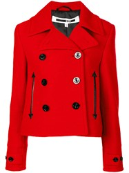 Mcq By Alexander Mcqueen Cropped Peacoat Women Polyester Viscose Virgin Wool 36 Red
