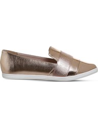 Office Fig Point Metallic Faux Leather Pumps Rose Gold