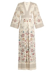 Vilshenko Amelie Floral And Square Print Silk Gown Cream Multi