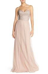 Women's Hayley Paige Occasions Strapless Metallic Lace And Net Gown