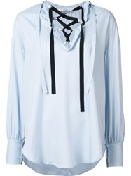 Tome Tie Peasant Blouse Blue