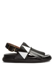 Marni Fusbett Fringed Sandals Black White