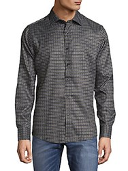 Saks Fifth Avenue Micro Check Button Down Shirt Olive