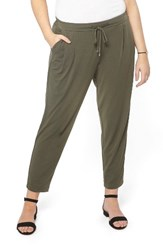 Evans Plus Size Women's Crepe Tapered Trousers Khaki