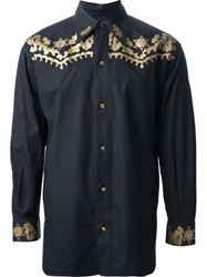Jean Paul Gaultier Vintage Embroidered Western Style Shirt Black