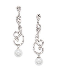 Saks Fifth Avenue 15Mm Round Freshwater Pearl And Crystal Drop Earrings Rhodium