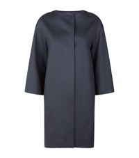 Harrods Of London Collarless Cocoon Coat Female Blue