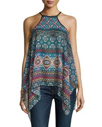 Romeo And Juliet Couture Sheer Woven Halter Top Blue Multi