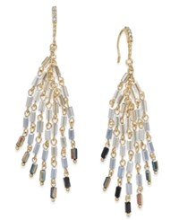 Inc International Concepts Gold Tone Blue Bead Fringe Drop Earrings Only At Macy's